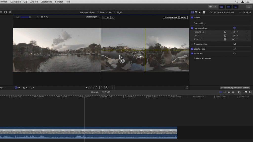 Ausrichtungswerkzeuge für FCP X 10.4 VR 360° Videobearbeitung