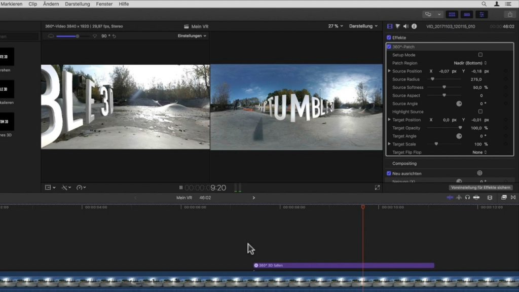 Final Cut Pro X 10.4 mit VR 360° Patch